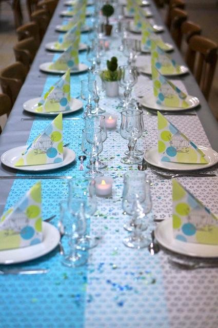 table de communion vert et bleu