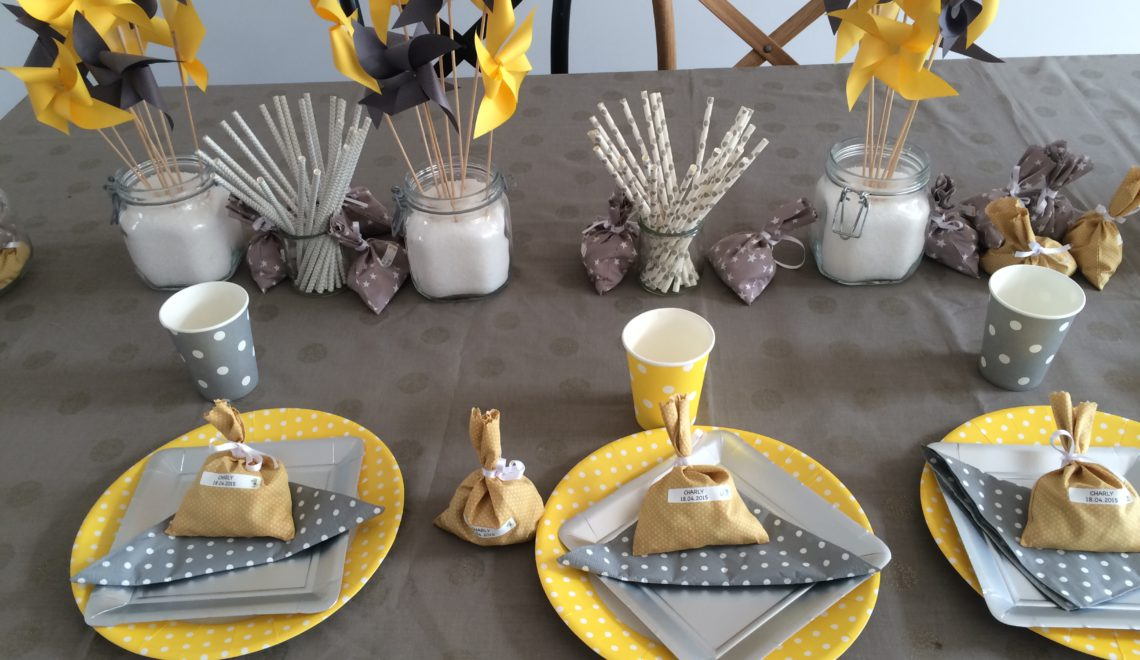 Deco De Table Gris Et Jaune