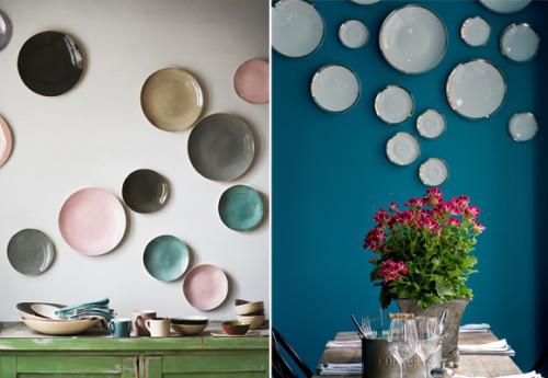 tuto composer une fresque murale avec des assiettes en. Black Bedroom Furniture Sets. Home Design Ideas