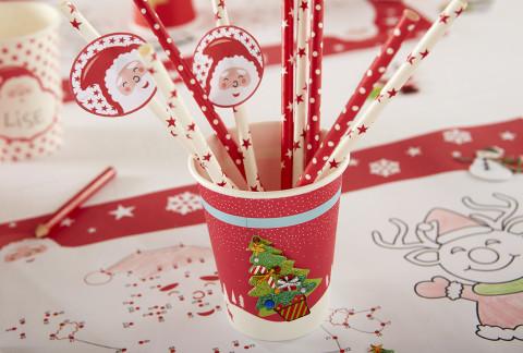 gobelets et pailles Noël à customiser par les enfants