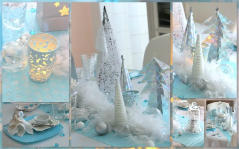 chemin de table ice blue