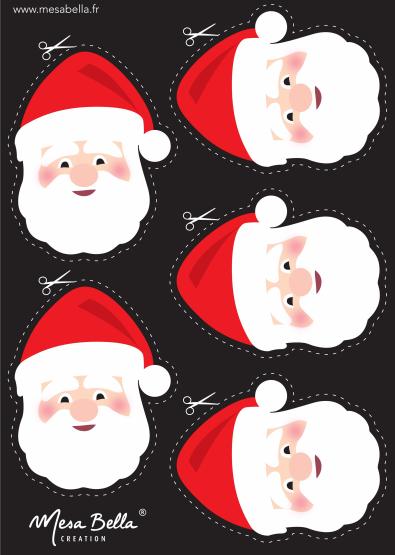 Planche tête père-Noel à imprimer et découper