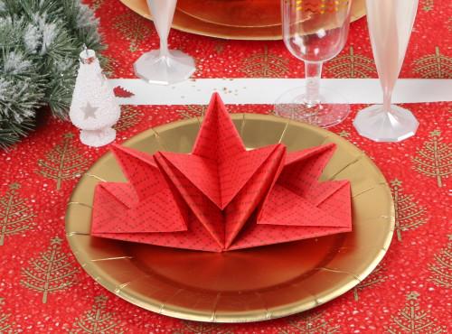 Serviette prépliée Noël rouge et chevrons Mesa bella