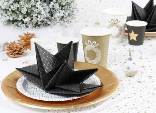 Serviette prépliée noir chevron Noël Mesa Bella