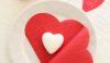 Serviette en forme de cœur st valentin