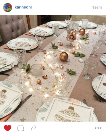 Mesa Bella table de Noël serviette boule de Noël or