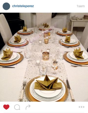 Mesa Bella table de Noël serviette prépliée or