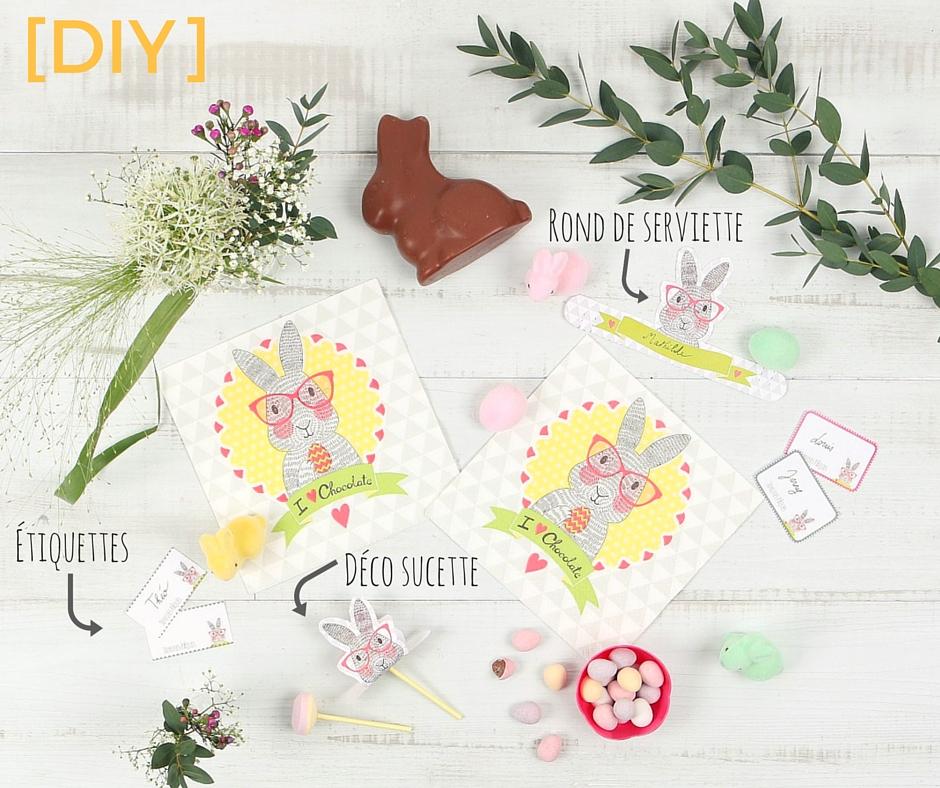DIY free printable étiquettes et ronds de serviette lapin de Pâques