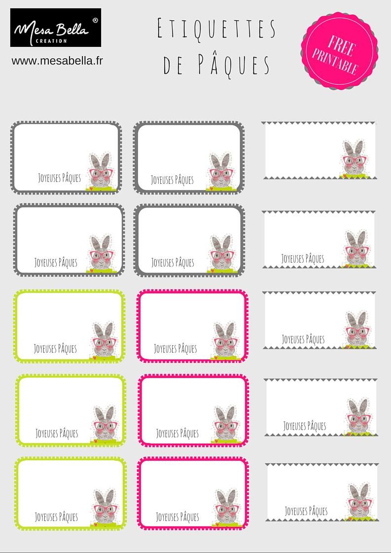 Etiquette lapin Joyeuses Pâques