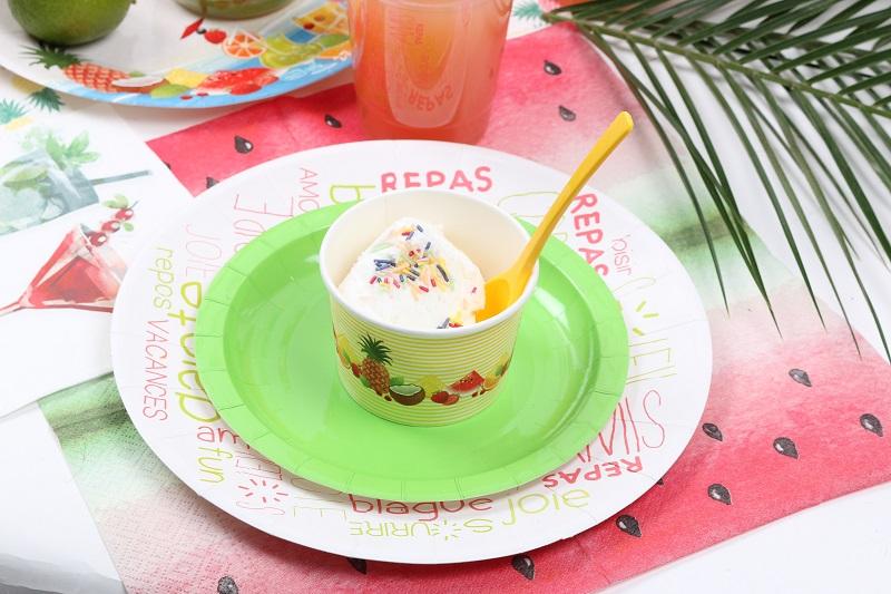 Assiette en carton apéro, pot à glace corbeille de fruit Mesa Bella