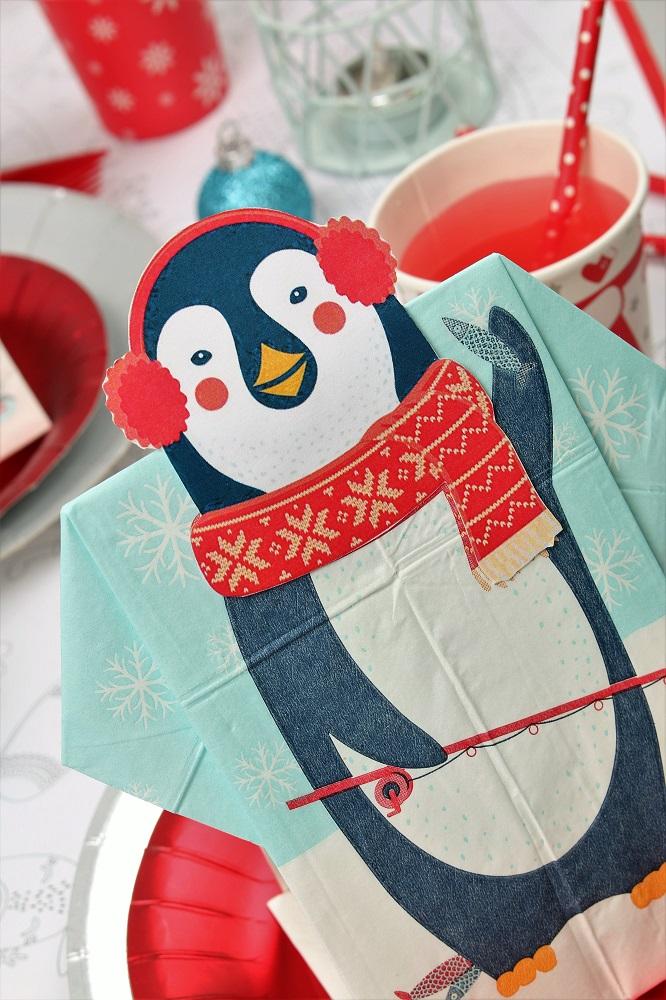 pingouin-serviette prépliée noël mesa bella