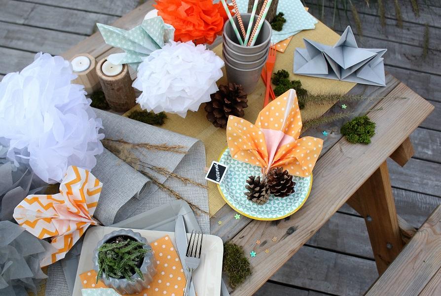 pliage de serviette feuille automne