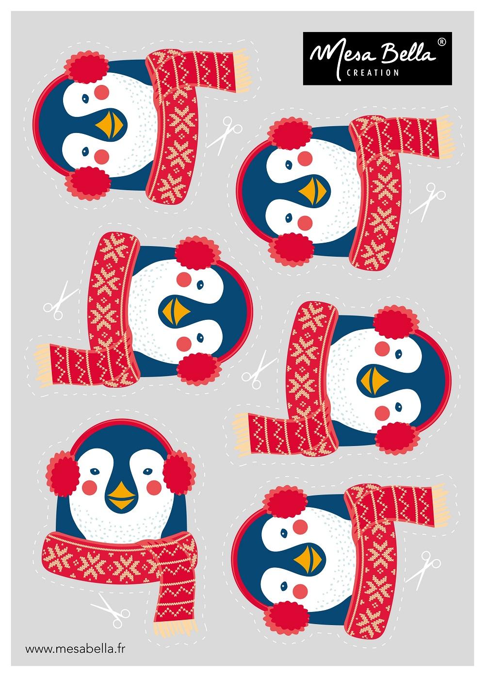 planche-tetes-serviette Noël pingouins