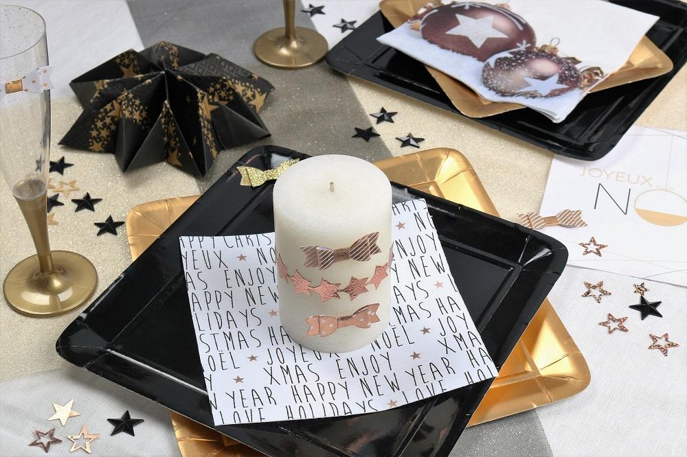 pliage de serviette flocon ou étoile couleur argent, noir, cuivre, or