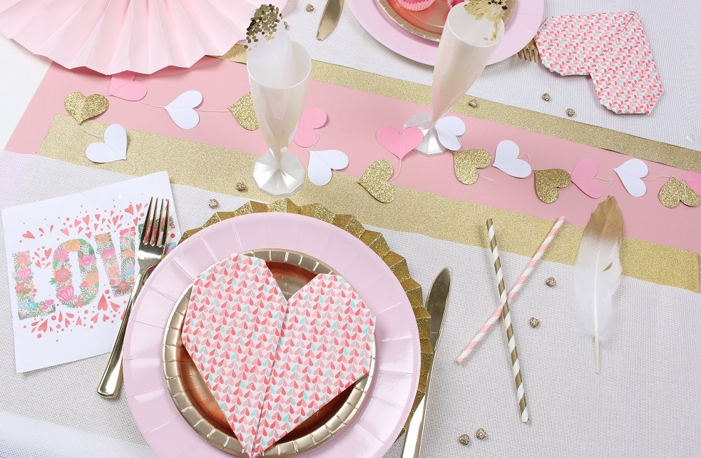 Table de Saint Valentin rose