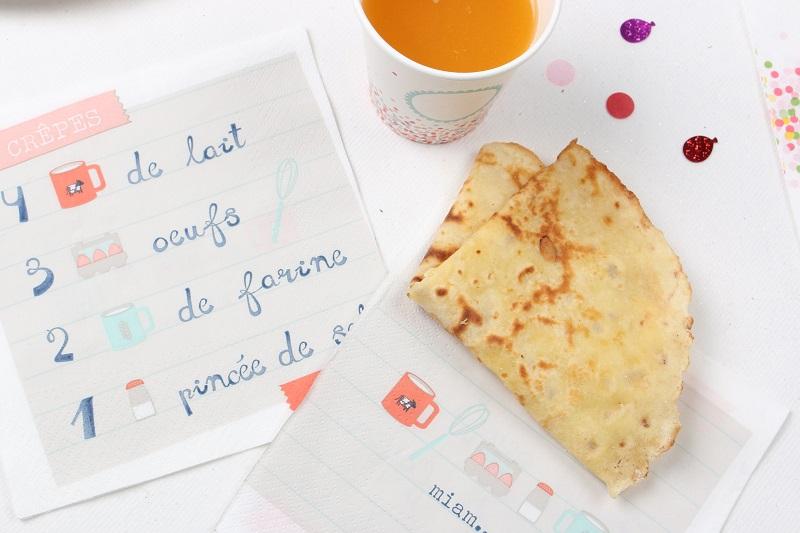Serviette en papier recette de la pâte à crêpe