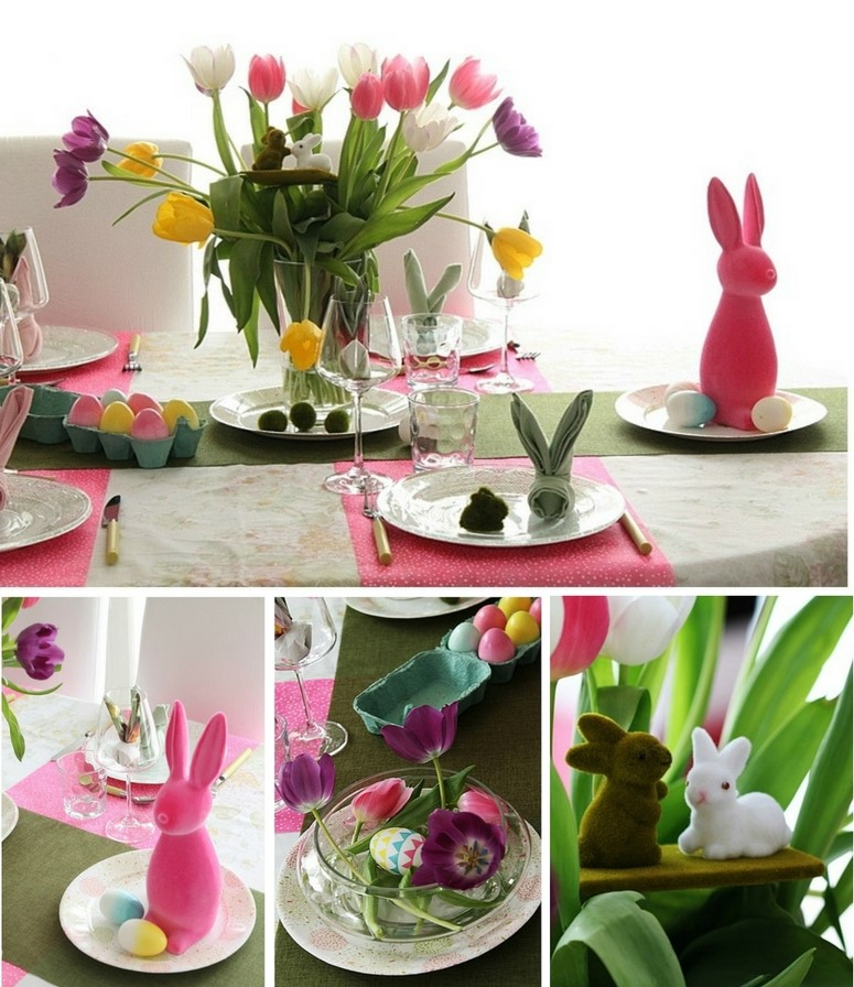 décoration de pâques  une table colorée et printanière