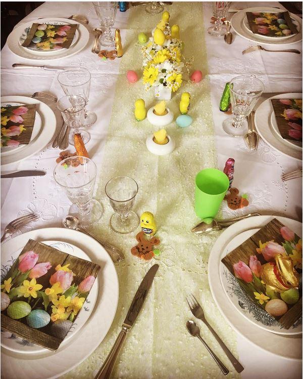 serviettes en papier tulipe de pâquesd