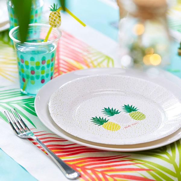 Assiettes en carton ananas