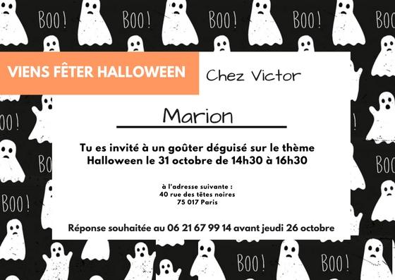 Boo invitation fantôme Halloween