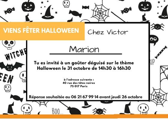 Invitation sorcière Halloween