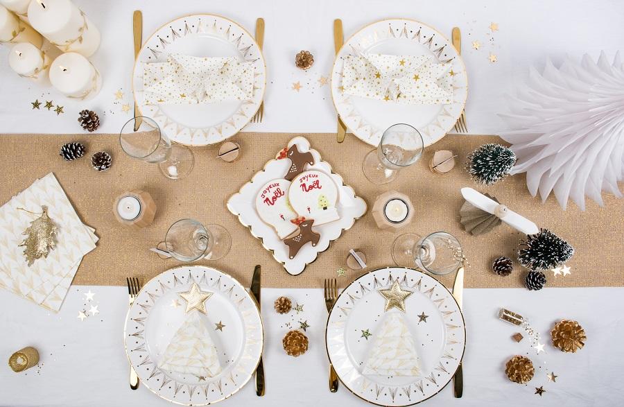 Table mesa bella blanc et or
