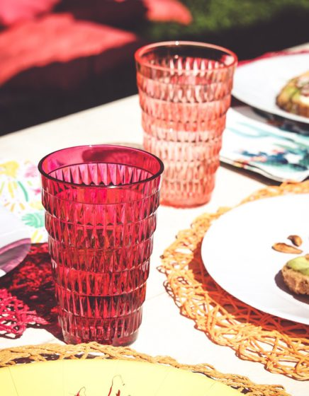 verres à facettes mesa bella rouges