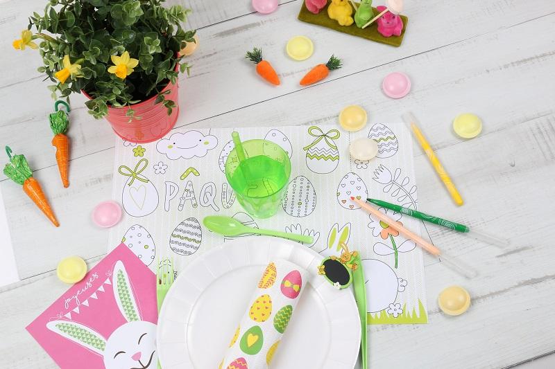 Set de table pour enfant à colorier pour PÂQUES - Mesa Bella