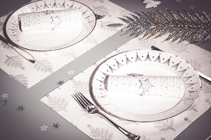 sets de table sapins de noel argent