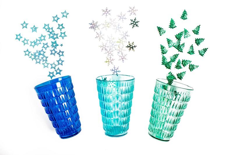 Etoiles bleues flocon argent et sapin vert - confettis Mesa bella