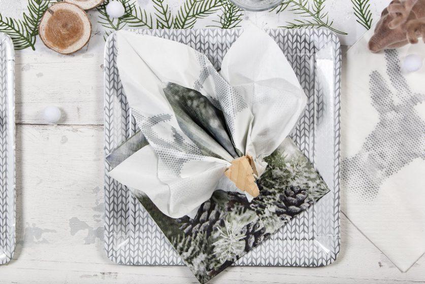 assiette en carton laine et pliage feuille d'erable