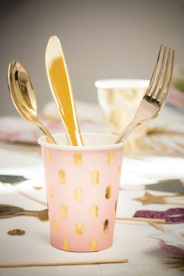 gobelet en carton rose et or motif ananas