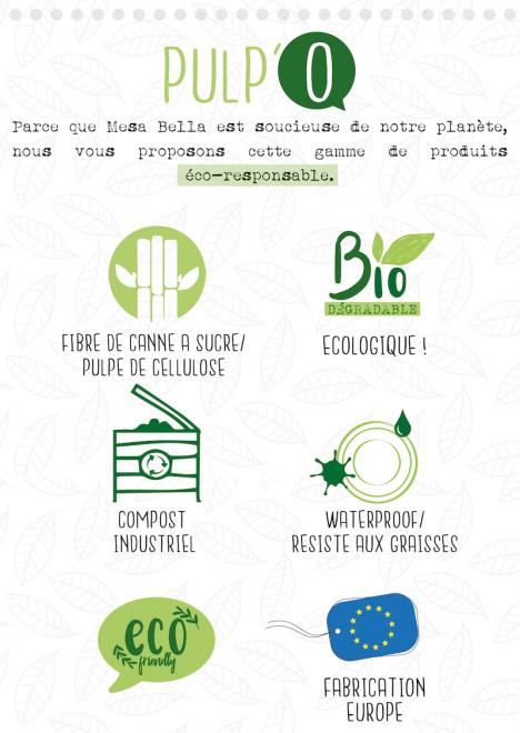 propriétés écologiques des assiettes compostables en pulpe de canne à sucre