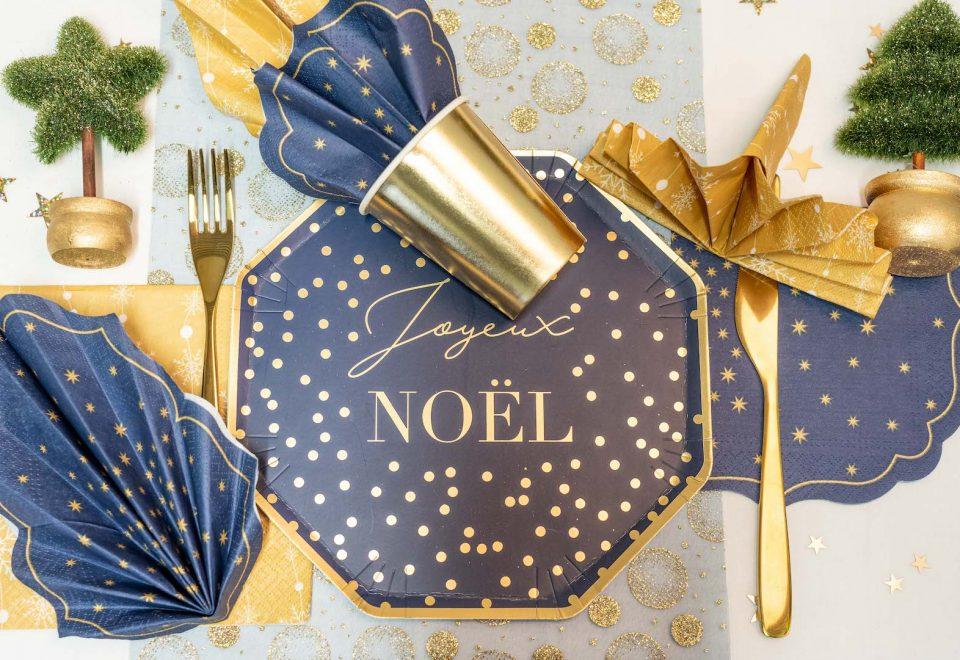 table de noël or et bleu