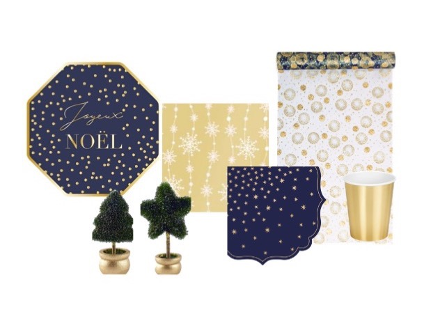 kit table Noel 8 personne bleu et or