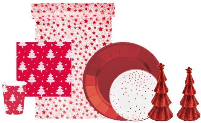 ensemble vaisselle jetable Noel rouge traditionnel