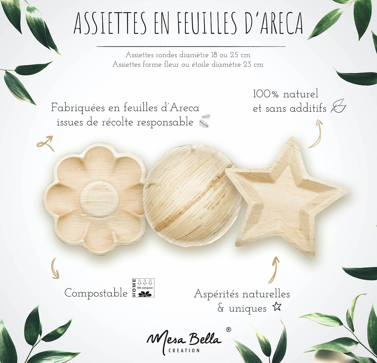 assiette recyclable feuille areca