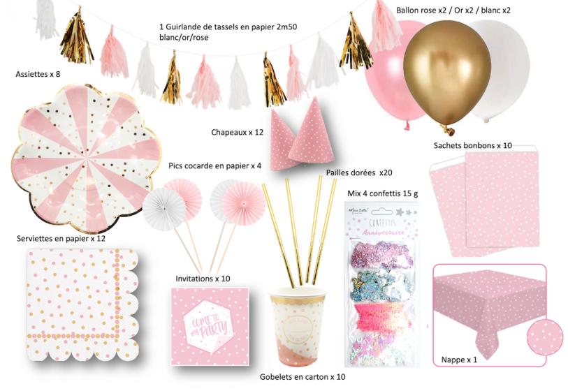 kit anniversaire composé d'une ensemble de vaisselle jetable et de la décoration de table fille rose et doré