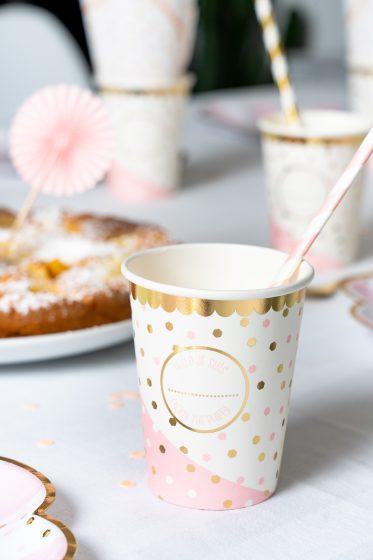 gobelet en carton personnalisable blanc rose et doré