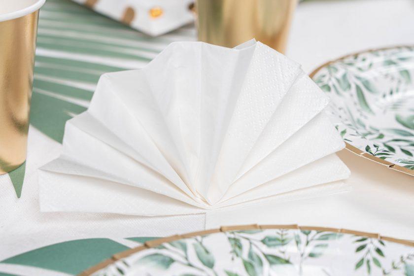 serviette en papier blanche nacrée