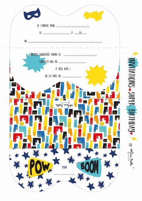 Invitation anniversaire super héros à imprimer