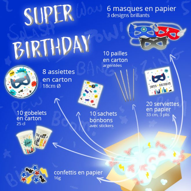 Kit vaisselle anniversaire super Hero sur amazon