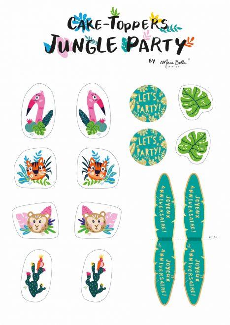 printable cake topper confettis exotique party